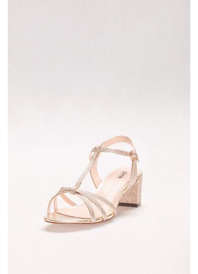 Pink Paradox Grey (Sadie Glitter Block Heel T-Strap Sandals)