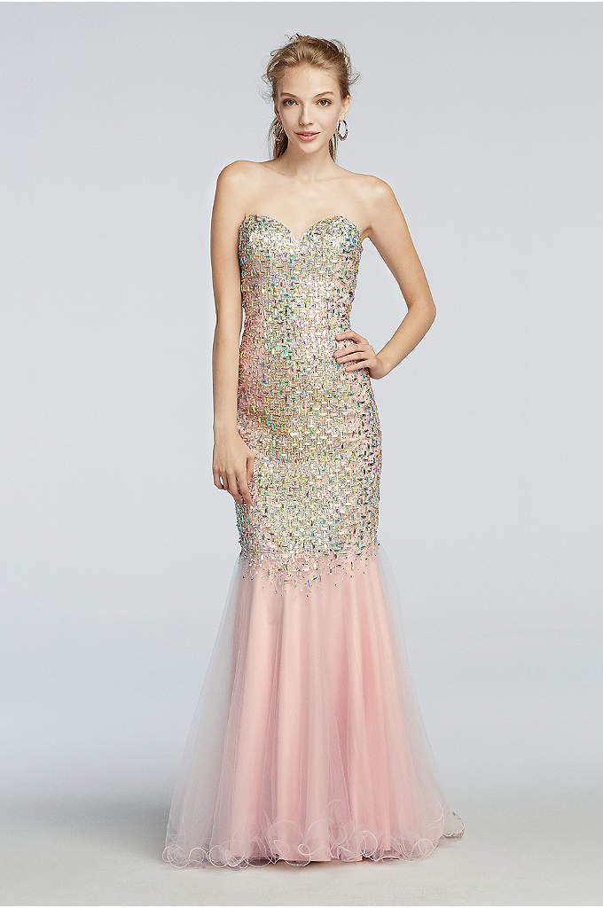 Crystal Beaded Mermaid Prom Dress with Train