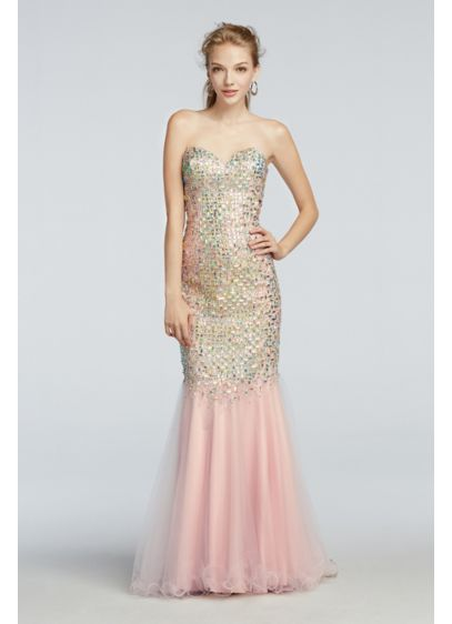 Crystal Beaded Mermaid Prom Dress with Train | David\'s Bridal