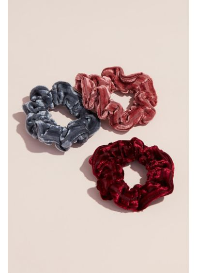 Silk-Blend Crushed Velvet Scrunchies Set - Wedding Accessories