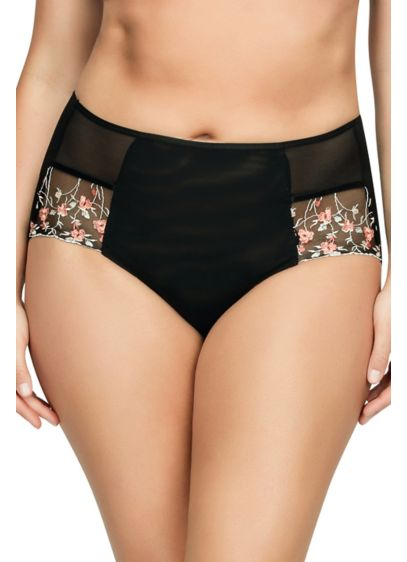 Parfait Briana High-Waisted Brief - These vintage-inspired high-waisted briefs feature a sheer back
