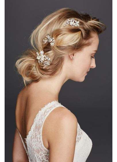 David's Bridal Grey (Pearl and Crystal Floral Hairpins)