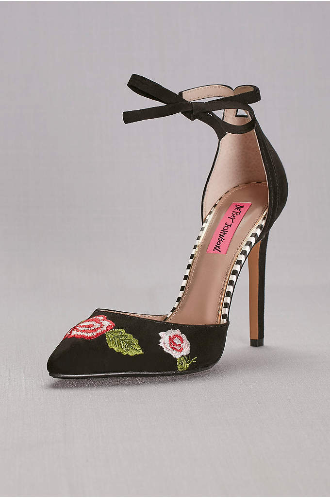 Floral Embroidered Ankle-Wrap Pumps - The perfect bit of flair for LBDs and