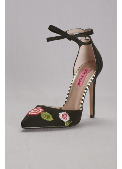 Pink by Betsey Johnson Black (Floral Embroidered Ankle-Wrap Pumps)