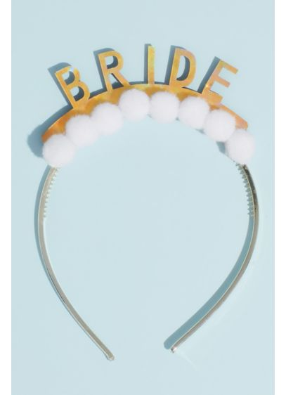 Holographic Bride Pom-Pom Headband - Hey bride, get ready to celebrate! Show off