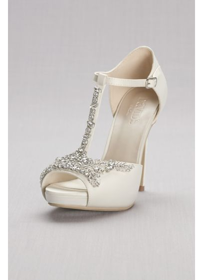 Crystal T-Strap Satin Peep Toe Platform Heels - Complement your wedding dress and jewelry with these