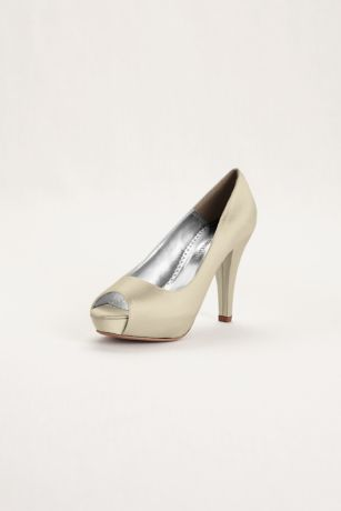 David's Bridal Black;Blue;Grey;Ivory;Pink;Purple;Red;White Peep Toe Shoes;Pumps (Dyeable Satin Platform Peep Toe)
