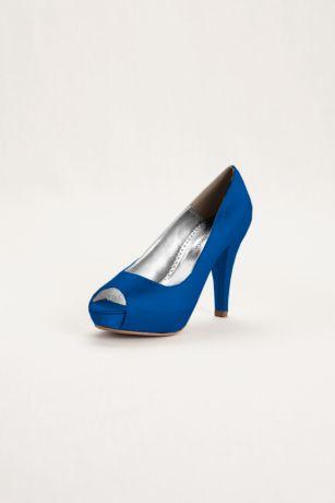 David's Bridal Black;Blue;Grey;Ivory;Pink;Purple;Red;White Peep Toe Shoes;Pumps (Dyeable Satin Platform Peep Toe)