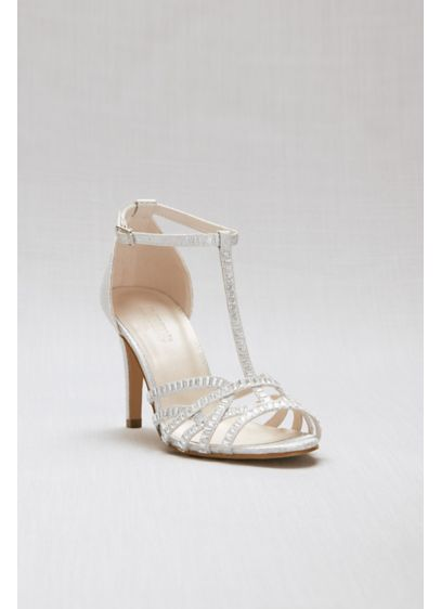 David's Bridal Grey (Crisscross Glitter T-Strap Heels with Crystals)