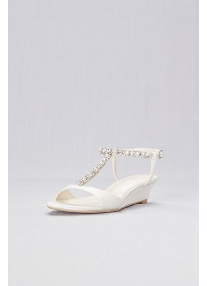 David's Bridal Ivory (Low Wedge Crystal and Pearl T-Strap Sandals)