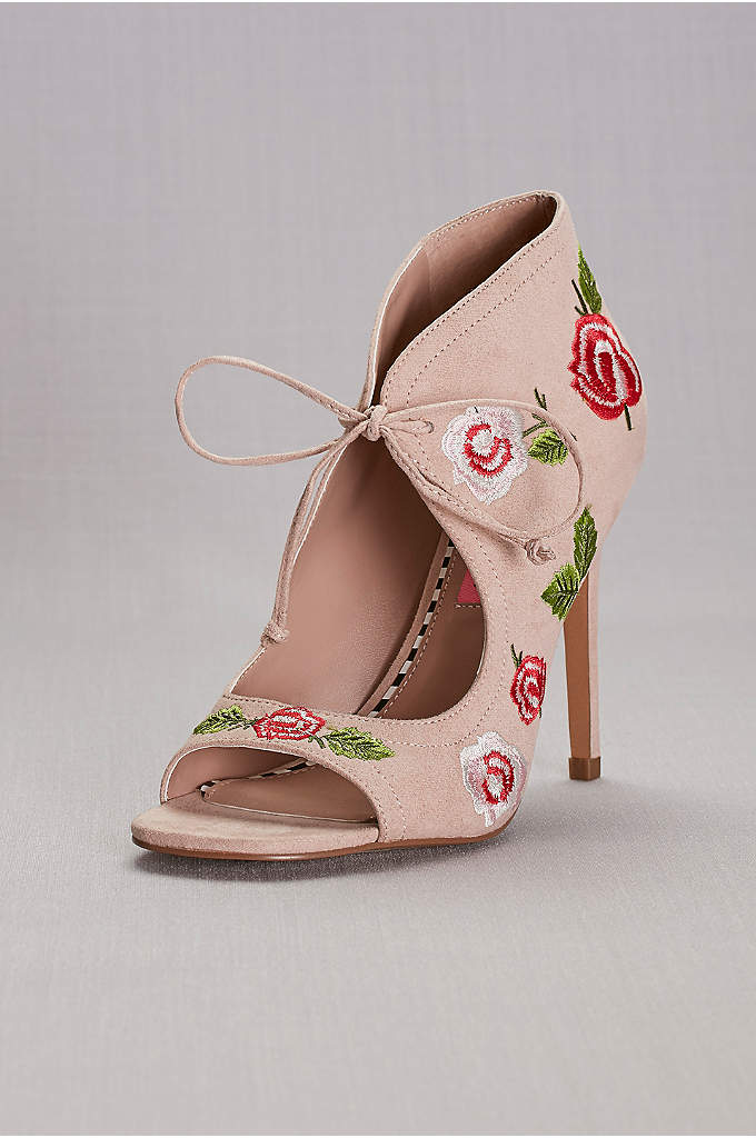 Floral Embroidered Peep-Toe Shooties - Strut your stuff in these super-chic faux-suede shooties,