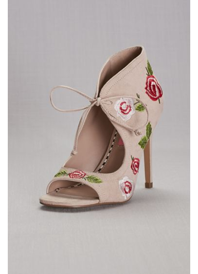 Pink by Betsey Johnson Pink (Floral Embroidered Peep-Toe Shooties)