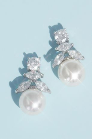 Cubic Zirconia And Pearl Drop Earrings Wedding Accessories