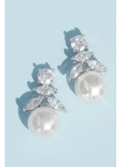 Cubic Zirconia and Pearl Drop Earrings - Wedding Accessories