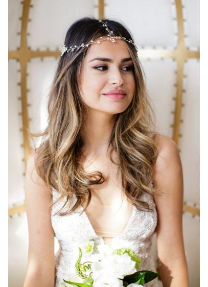 Triple-Strand 14k Gold and Crystal Halo Headband - Wedding Accessories