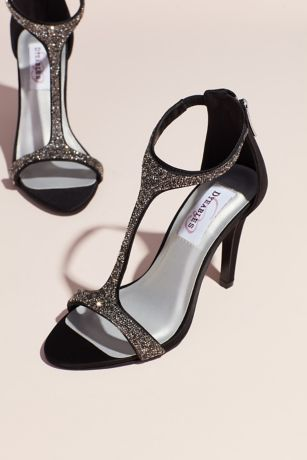Dyeables Black (Jeweled Satin T-Strap Heels with Back Zip)
