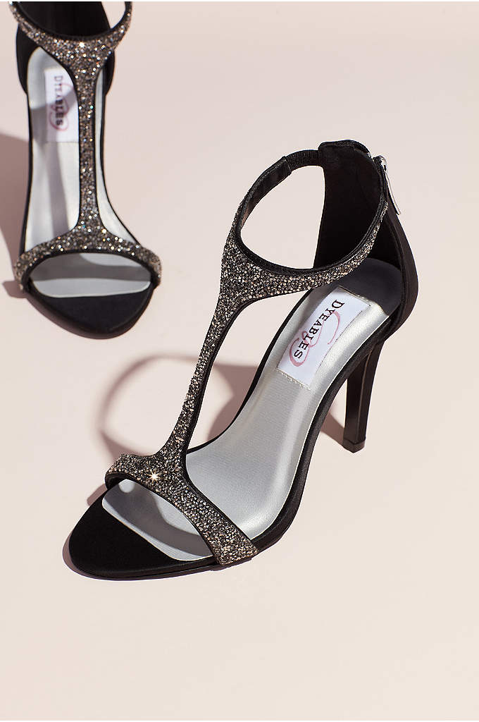 Jeweled Satin T-Strap Heels with Back Zip - Step out in style with these jeweled T-strap