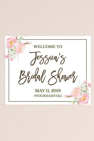 Editable Purple Floral Welcome Sign for Baby Showers or Bridal Showers \u2022 Custom Event Sign \u2022 LI-006