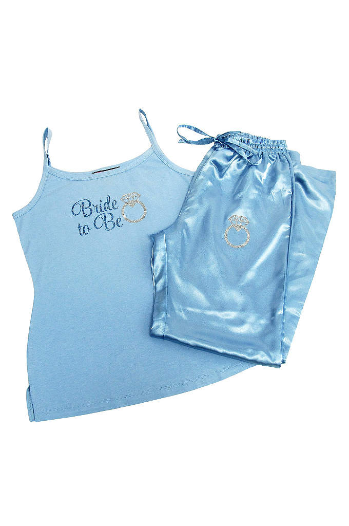 Glitter Print Blue Bride to Be Pajama Set - These cute blue pajamas would be a sweet