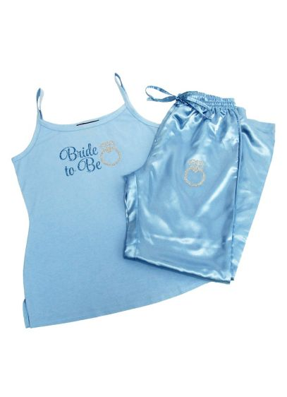 Glitter Print Blue Bride to Be Pajama Set - Wedding Gifts & Decorations