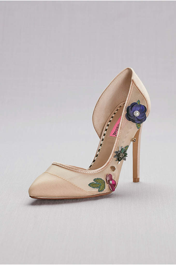 Floral-Embellished Mesh Pointed-Toe Heels - Barely there mesh-and-satin stilettos bloom with jeweled 3D