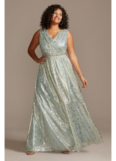 Metallic Foil Pleats V-Neck Belted Plus Size Gown - Channel your inner Greek goddess in this pleated