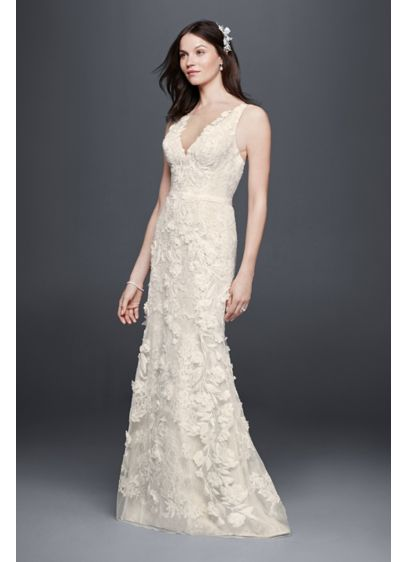 ec758d8b32d08 Long Sheath Romantic Wedding Dress - Priscilla of Boston