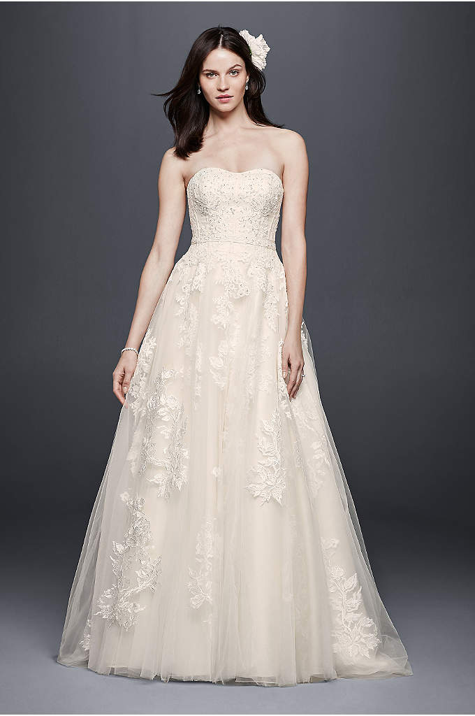 Beaded Sweetheart Tulle Ball Gown Wedding Dress - A strapless sweetheart neckline is flattering and feminine,