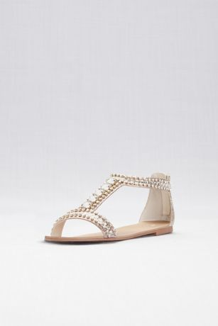 David's Bridal Grey;Pink Flat Sandals (Crystal and Jewel Embellished Flat Sandals)