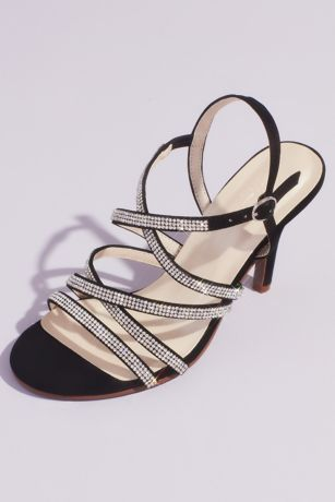 David's Bridal Black Heeled Sandals (Crisscross Heeled Sandals with Pave Crystal Straps)