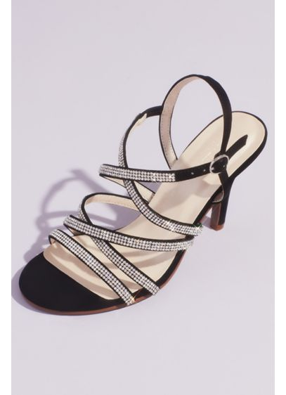 Crisscross Heeled Sandals with Pave Crystal Straps - Perfect for any special occasion, these sexy heeled