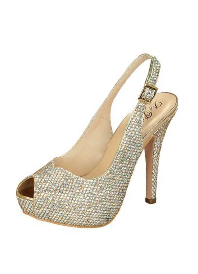 43830c72ad0 Glitter Peep Toe Slingback High Heel by Blossom