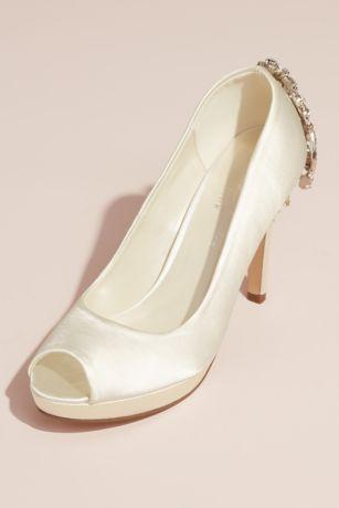Pink Paradox Blue;Ivory (Satin Peep Toe Pumps with Heel Embellishment)