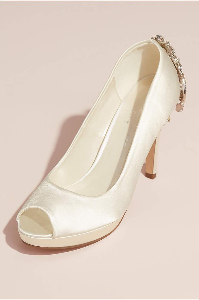 Satin Peep Toe Pumps with Heel Embellishment