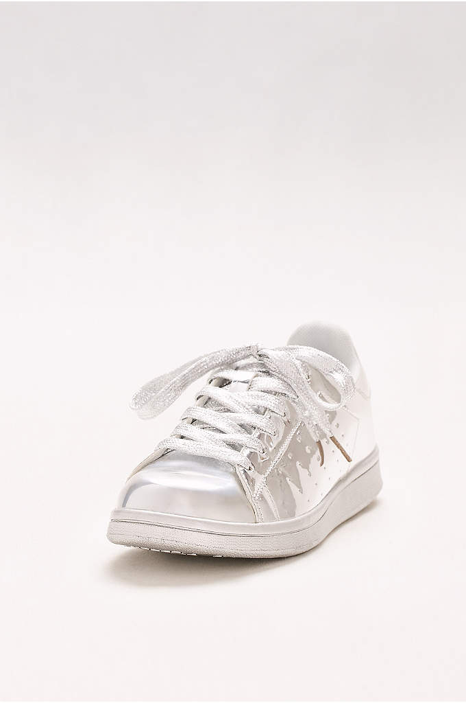 Lace-Up Metallic Sneakers - Mirror-like shine elevates these sneakers from sporty to
