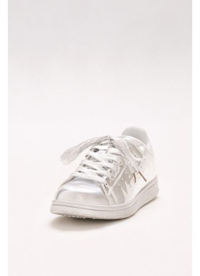 Grey (Lace-Up Metallic Sneakers)