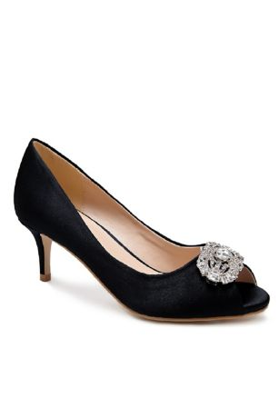 Pink Paradox Black;Grey;Ivory Peep Toe Shoes (Peep Toe Pumps with Brooch Embellishment)