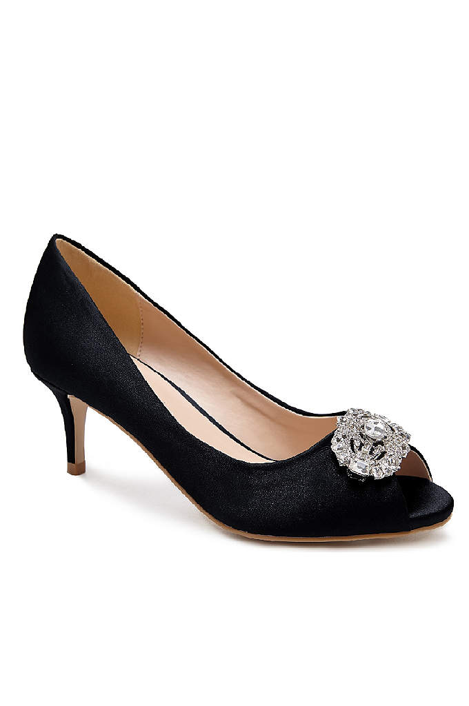 Peep Toe Pumps with Brooch Embellishment