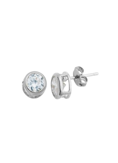 Sterling Silver and Cubic Zirconia Bezel Set Studs - Wedding Accessories