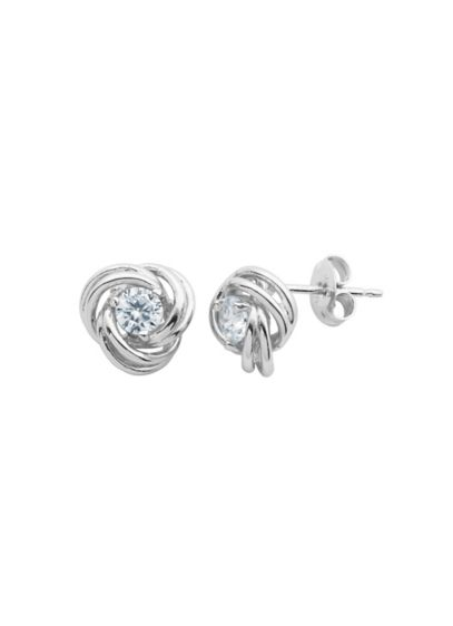 Sterling Silver and Cubic Zirconia Love Knot Studs - Wedding Accessories