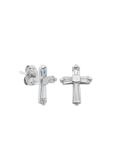 Sterling Silver and Cubic Zirconia Cross Earrings - Wedding Accessories