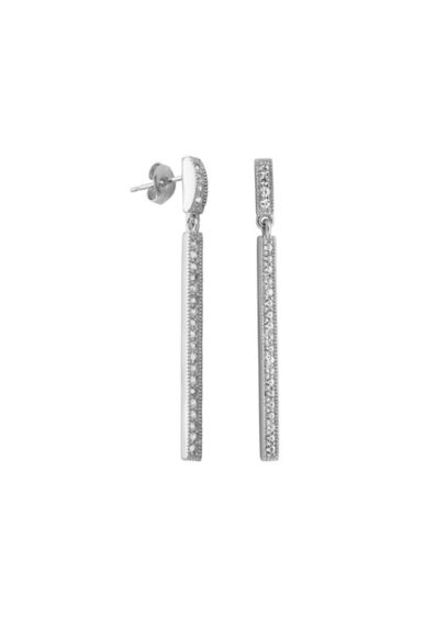 Linear White Sapphire Pave Earrings - Wedding Accessories