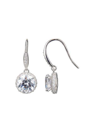 Rhodium Plated Clarion Cubic Zirconia Drops - Wedding Accessories