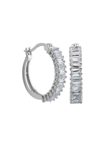 Cubic Zirconia Baguette Hoops - Wedding Accessories