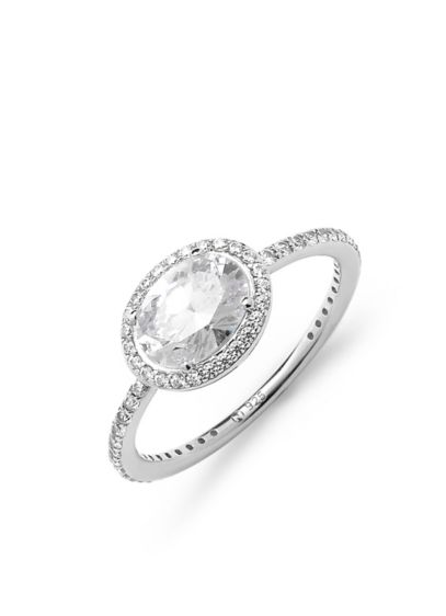 Haloed Oval Cubic Zirconia Sterling Silver Ring - Haloed in pave cubic zirconia, this oval-cut sterling