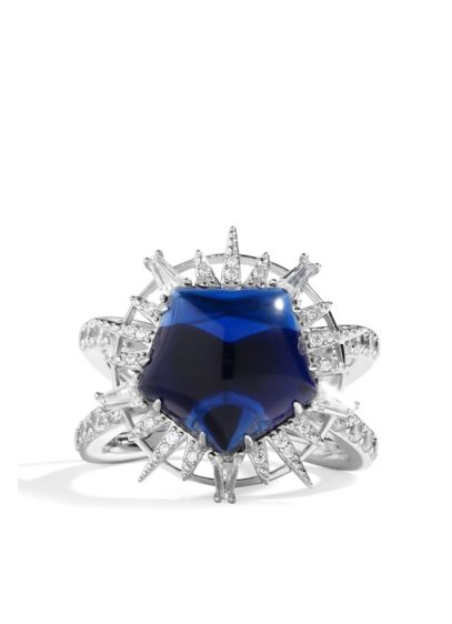 Faux Sapphire Cubic Zirconia Sterling Silver Ring - Need a little something blue? We've got you