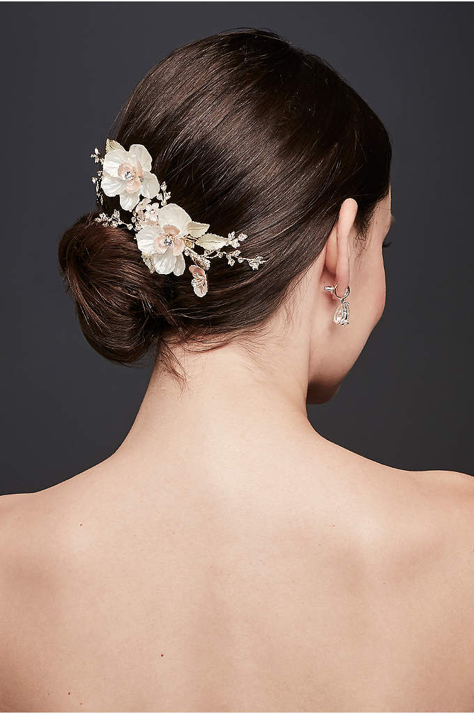 Crystal-Topped Flower Duo Hair Clip - Finish off your bridal look with this elegant