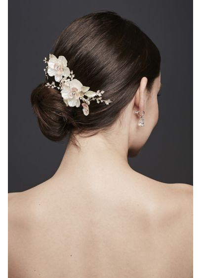 Crystal-Topped Flower Duo Hair Clip - Wedding Accessories