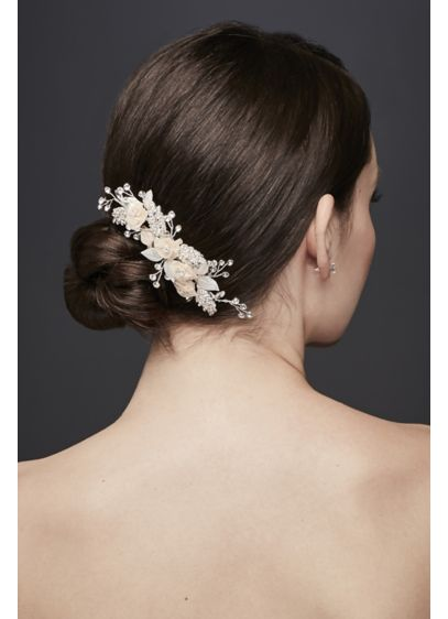 Fabric Flower and Crystal Sprig Hair Clip - Wedding Accessories