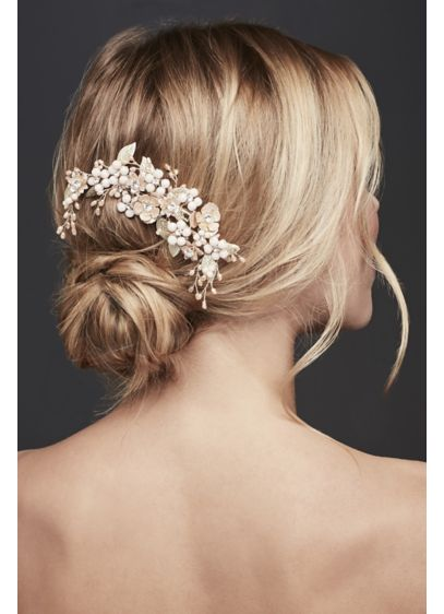 Pearl and Crystal Flower Cluster Hair Clip - Wedding Accessories